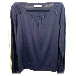 Tory Burch navy silk top with buttons